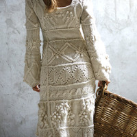 Offwhite hand knit dress wedding  custom order by Muza on Etsy