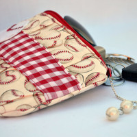 Baseball pleated Clutch Purse, zippered Pouch, summer Clutch, wristlet