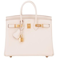 Hermes Craie 25cm Off White Swift Gold Hardware A Stamp Baby Birkin Bag