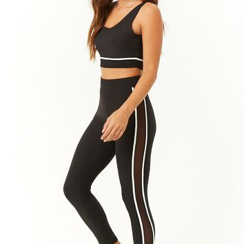 Striped-Trim Mesh Panel Crop Top & Leggings Set