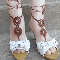 1 Pair Crochet Barefoot Sandals, Beachwear, Anklets, Fancy, Eyelets,pink, Sexy, Yoga, Ballet, Beach, Pool, Vacation