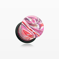 A Pair of Vibrant Marble Swirls Single Flared Ear Gauge Plug