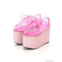 Swankiss Lace-Up Clear Shoes
