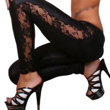 Ninimour Womens Black Goth Punk Wetlook Leggings
