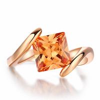 18K Rose Gold Plated Square Orange Crystal Ring Fashion Jewelry Love