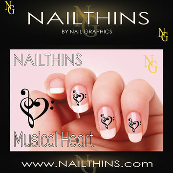 Hearts Music Note Nail Decal Music Heart nail decal NAILTHINS Nail Design