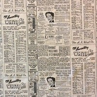 MO33 Retro Newspaper Script Print 50s Atomic Classifieds Cotton Quilt Fabric