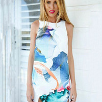 Blue Abstract Print Sleeveless A-Line with Mini Slit Dress