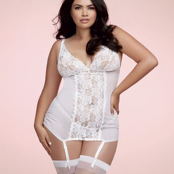 Plus Size White Lace Garter Slip & G-String
