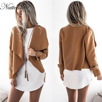 NATTEMAID winter jacket women Sweatshirts Coat 2018 Women Long Sleeves coat Jacket Sexy Casual Lady Ruffled cardigan