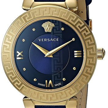 Versace Women's 'Daphnis' Swiss Quartz Stainless Steel and Leather Casual Watch, Color:Blue (Model: V16040017)