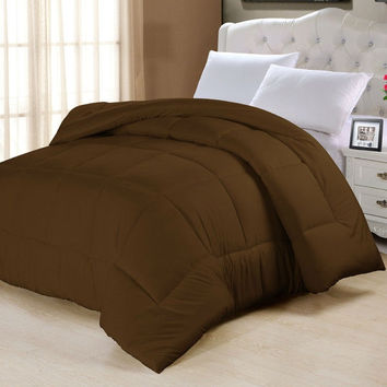 King size Cotton Poly Blend Microfiber Down Alternative Comforter in Chocolate Brown
