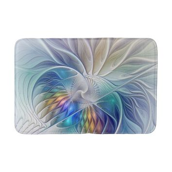 Floral Fantasy, abstract and modern Fractal Art Bath Mat