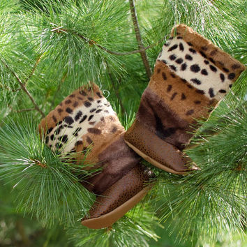 Animal Print Tall Fur Boots for Toddlers