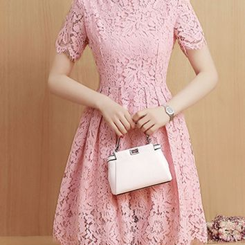 Casual Round Neck Hollow Out Plain Lace Skater Dress