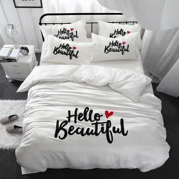 Girls beautiful white queen king size Bedding Sets silk cotton embroidery duvet cover bed linen set bedclothes ropa de cama
