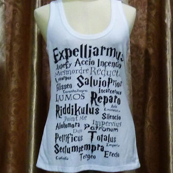 T-Shirt Spell Harry Potter Tank Top magic spells Movie teen Tshirts size S/m singlet Crop top shirt ladies blouse