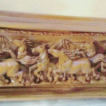 XTRA LARGE WALL SCULPTURE OF HORSES RUNNING