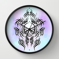 Alien Tribal Tattoo Wall Clock by Chobopop
