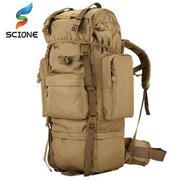 70 L large Backpack Outdoor Sports Bag 3P Military Tactical Bags For Hiking Camping Climbing Waterproof Wear-resisting Nylon Bag