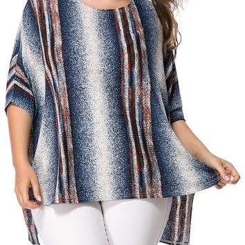 Streetstyle  Casual High-Low Printed Vertical Striped Batwing Sleeve Plus Size T-Shirt