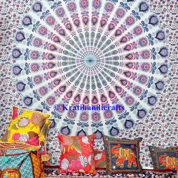 White Tapestry Mandala Wall Hanging Indian Dorm Decor Sheet Bohemian Bedding Bedspread Psychedelic Tapestries Hippy Art Decor