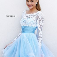 Sherri Hill 21234 Sheer Long Sleeve Prom Dress