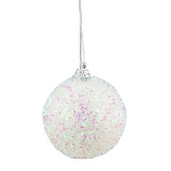 Pack of 7 Decorative Iridescent White  Pink and Green Bristled Christmas Ball Ornaments 2.25""