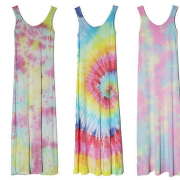 Rainbow Tie-dye Maxi Dress Random Pattern