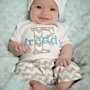 Baby Boy Clothes Chevron Gray and Blue Bodysuit with Hat and Pants Options Personalized Baby Boy Newborn Boy Take Home Outfit Baby Gift