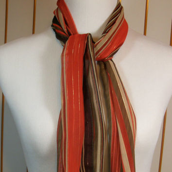 Vintage Orange and Brown Long Scarf