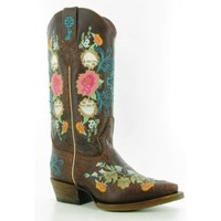 """Macie Bean Boots By Anderson Bean Cowboy Boots Antique Rose Garden 10"""" Top Embroidery Floral Kids Cowboy Boots"""