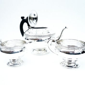Solid Silver Teaset, Sterling, Tea Set, Greek Key, English, Vintage, Teapot, Tea Pot, Cream Jug, Sugar Bowl, Hallmarked 1931, REF:252R