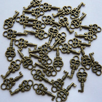 12 Antique Bronze Key Charms Pendants