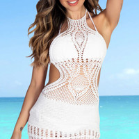 Buttercup White Backless High Neck Halter Dress Crochet Cover Up