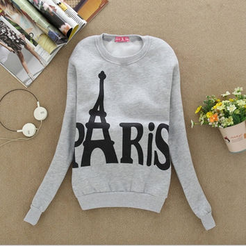 Autumn Winter Outfit New Women's Wear Long Sleeve Coat Students In Paris Eiffel Tower Fleece Printed Fleece Movement lml-01-0409 = 1945743556