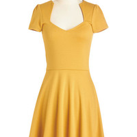 ModCloth Mid-length Short Sleeves A-line Ooh La La Lady Dress in Sunflower