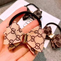 GUCCI Fashion New More Letter Bow-Knot Hair Rope Hair Accessories Beige