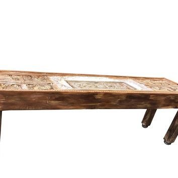 Mogul Interior Antique Tribal Carving Haveli Indian Stone Arch Console Vintage Table