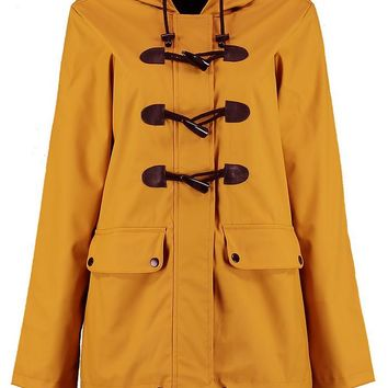Leah Rubberised Rain Mac With Toggles | Boohoo