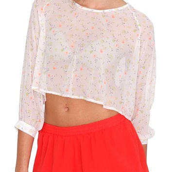 Touch Of Spring Chiffon Crop Top - Ivory