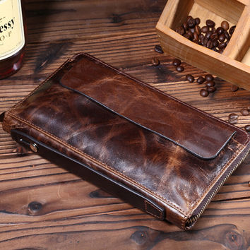mens retro genuine leather long wallet handmade card hold purse gift 08