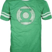 The Green Lantern DISTRESSED Logo With Striped Sleeves Kelly Green Adult T-shirt