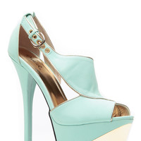 Menthol Gold Luxury Peep Toe Heels