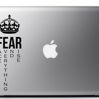 """Fear Inspirational Laptop Decal Quote """"Fear: Face everything and rise"""" 7 x 2.3 inches"""