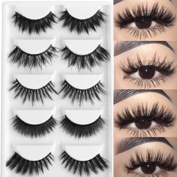 5Pairs Multipack 3D Soft Mink Hair False Eyelashes  Wispy Fluffy Long Lashes Natural Makeup Faux Eye Lashes Tools