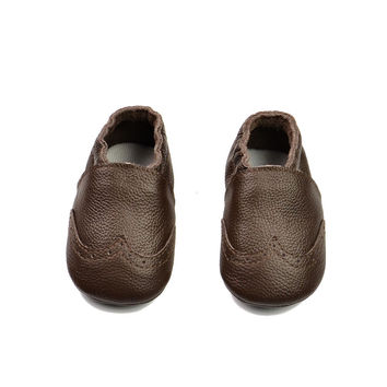 Leather Handcrafts Baby Permeable Anti-skid Infant Brown Shoes [4919351556]