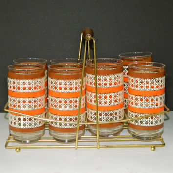 Sale! Vintage Tumbler Set With Caddy
