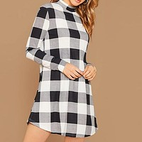 Black And White Stand Collar Gingham Casual Short Dress Women Long Sleeve Ladies Basic Straight Pencil Dresses