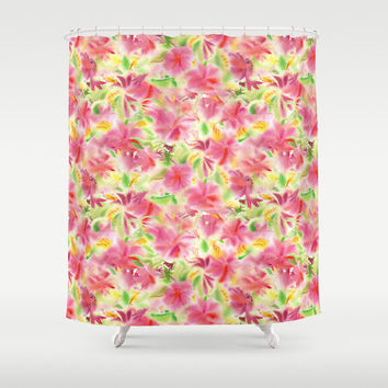 Floral Shower Curtain - Watercolor Floral Pattern - Tropical Dreams-  colorful shower curtain, pink, yellow, green, flowers, extra long
